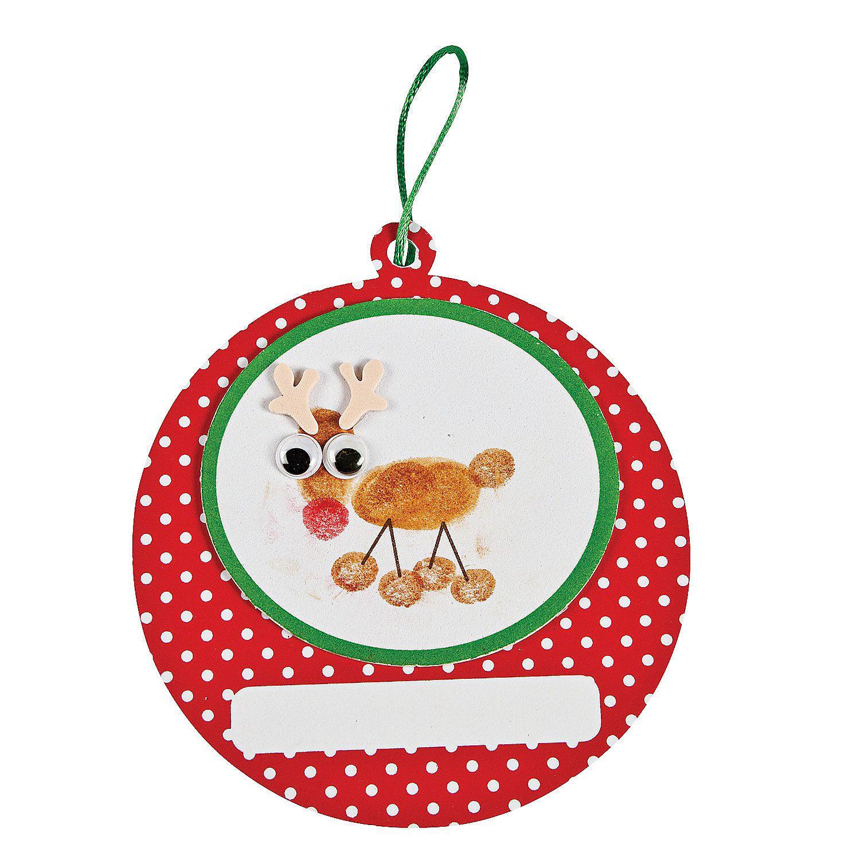 Reindeer christmas ornaments - Thumbprint Reindeer Christmas Ornament Craft Kit Orientaltrading Com