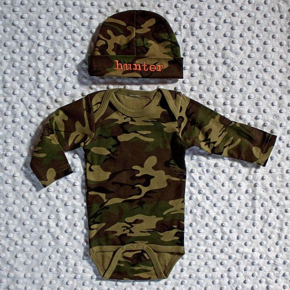 Camo coming home baby outfit personalized set includes onesie camo coming home baby outfit personalized set includes onesie and newborn hospital hat negle Image collections