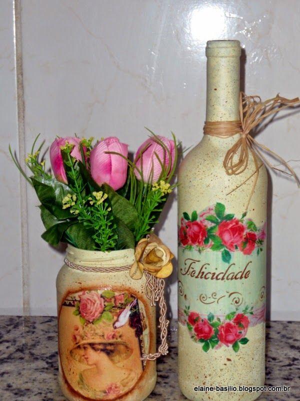 Aparador Zapatero Ikea ~ Elaine Artesanatos GARRAFA E POTE VINTAGE garrafas Pinterest Potes, Vintage e Garrafas