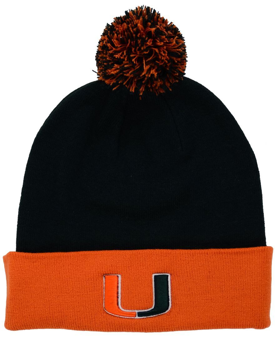 Top of the World Miami Hurricanes 2-Tone Pom Knit Hat