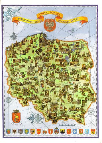 Poland Map Postcard Zamki Podroze I Plakat