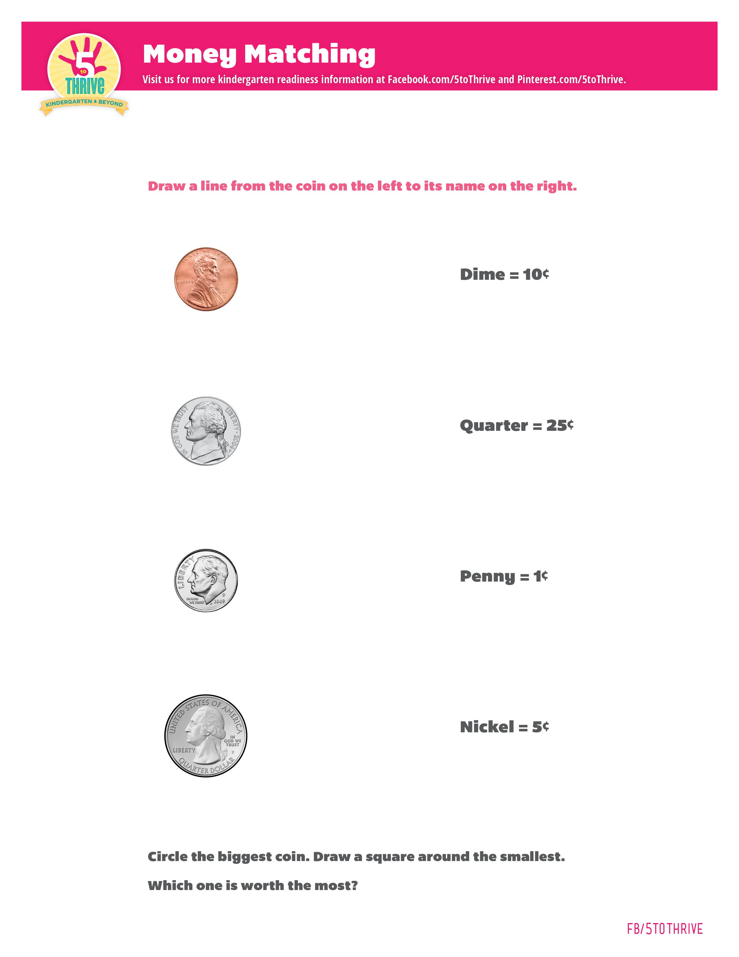A Money Matching Activity Sheet For Kids To Begin