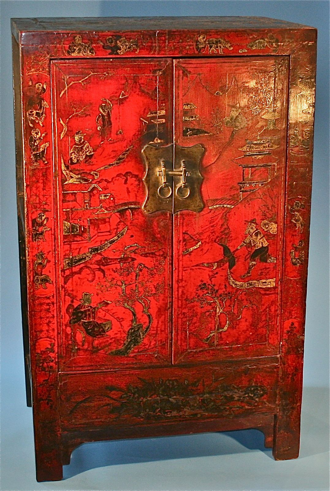 Antique Chinese Red Hand Painted Lacquer Wood Cabinet Dresser Antique Chinese Furniture Antiques Wood Cabinets