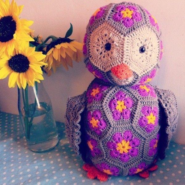 Free Knitted Crochet African Flower Owl Pattern Crochet Craft