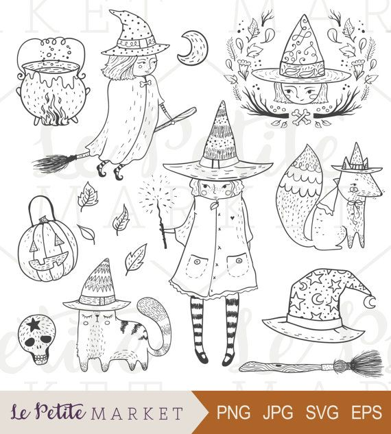 Cute Witch Clipart Set Hand Drawn Halloween Clipart Set Hand Etsy Halloween Illustration How To Draw Hands Witch Clipart