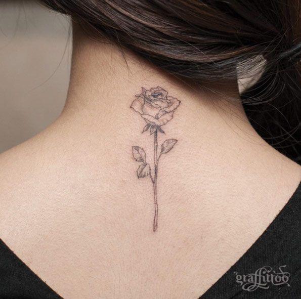 Blackwork Rose Tattoo Von River Rose Tattoos For Women Rose Tattoos Neck Tattoo
