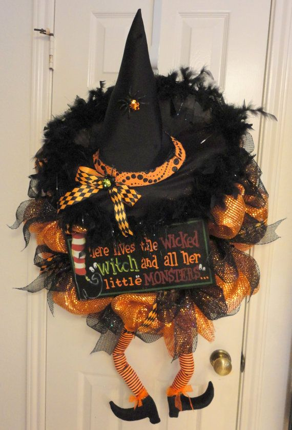 crazy legs c witch halloween deco mesh wreath by ramonareindeer 6500 - Halloween Deco