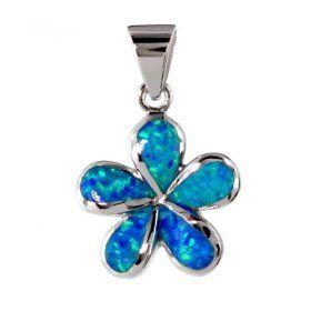 Hawaiian silver pendant, 10mm Synthetic Aqua Opal plumeria flower