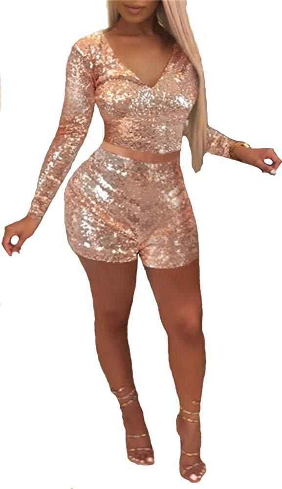 929e37c5ed08 Womens Sparkly Sequin 2 Piece Outfits V Neck Crop Top and Short Pants Romper  Jumpsuits Set