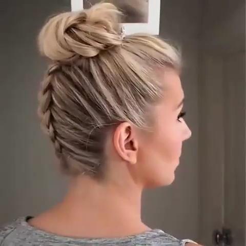 Dutch Braided Hairstyle with High Bun