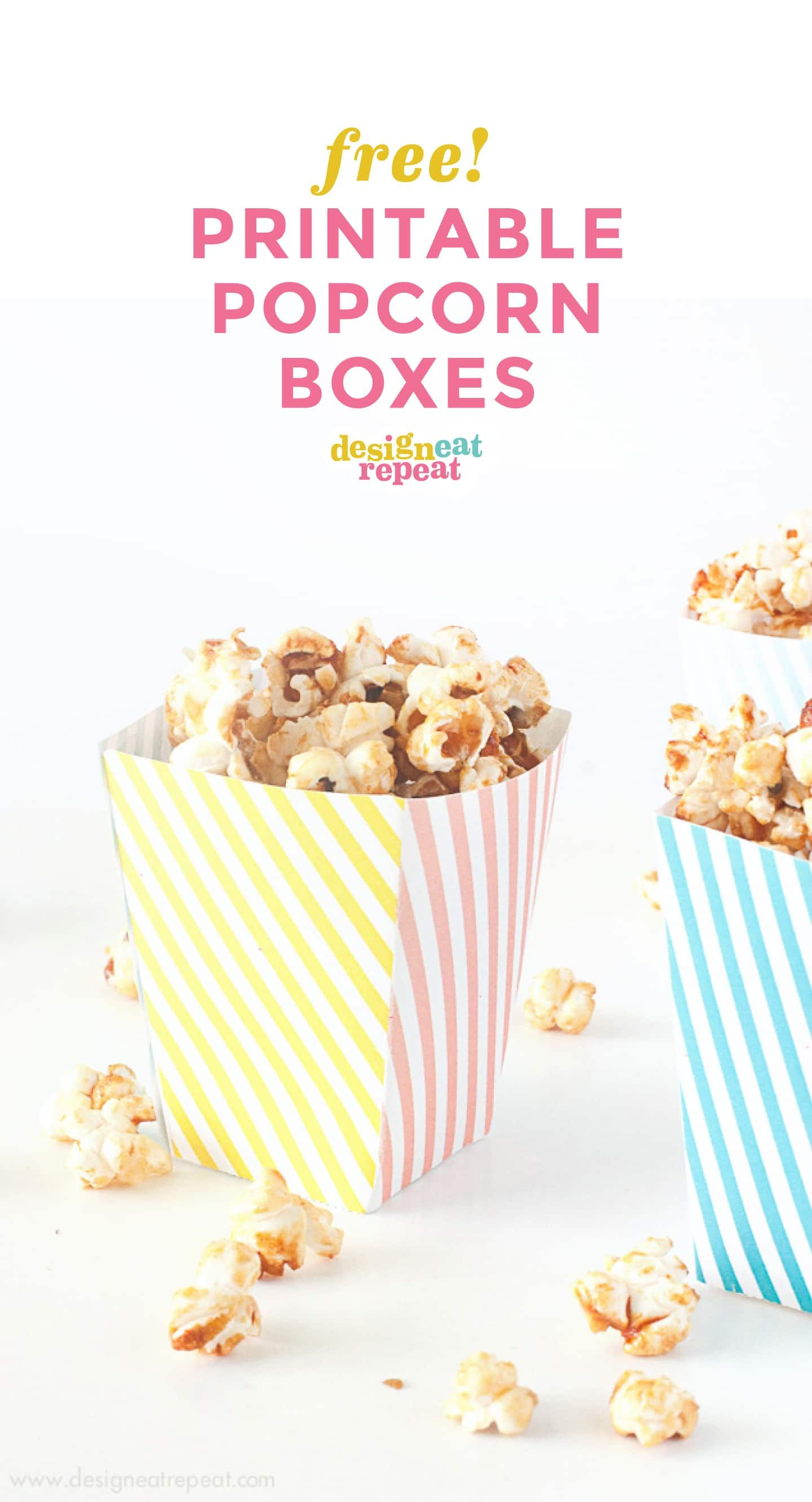 Pink Yellow And Blue Striped Free Printable Popcorn Box Template For Birthday Circus Party Baby Shower Popcorn Box Template Popcorn Box Popcorn Box Diy
