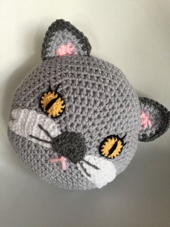Crochet cat pillow, handmade pillow , animal pillow , gray cat ...