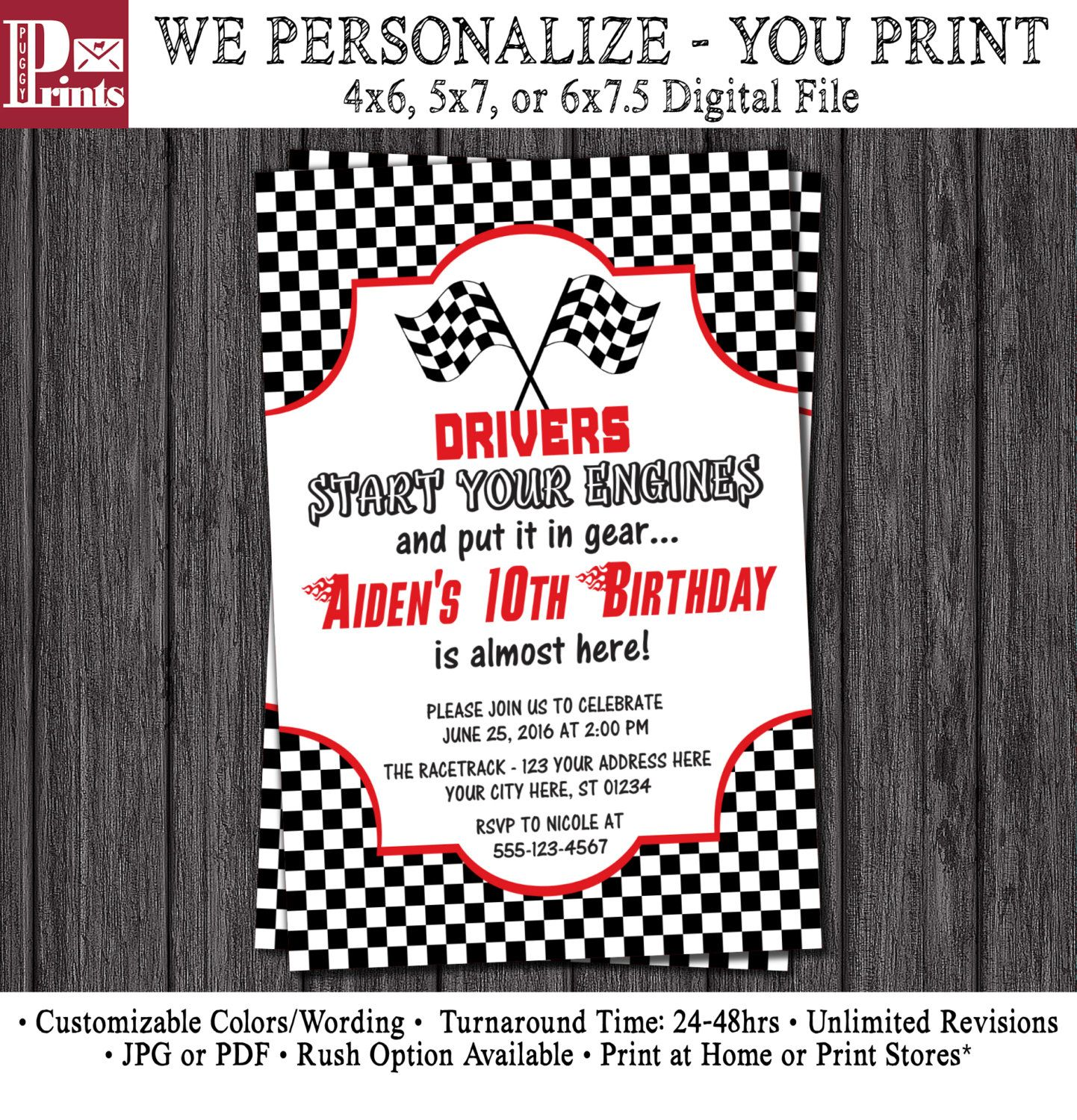 Race car birthday invitation racing birthday party invitations birthday party ideas filmwisefo Choice Image