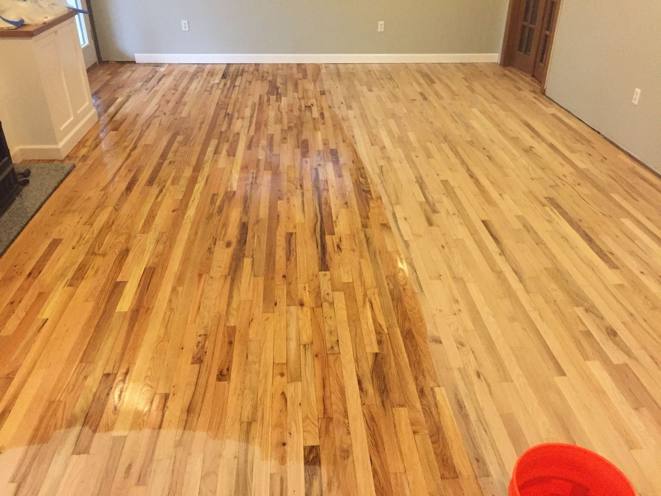 Water popping nr2 red oak for dark stain duraseal for Hardwood floors popping