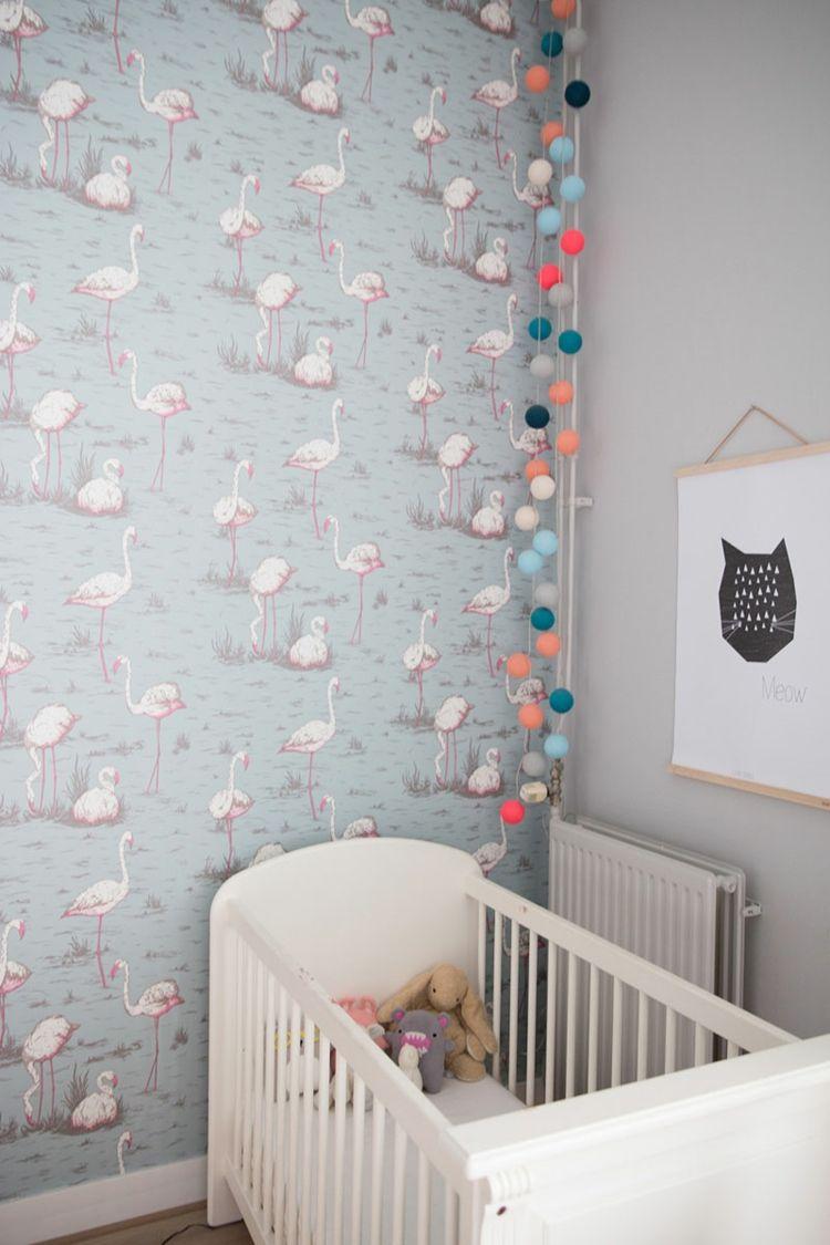 Flamingo Kinderzimmer Deko Wand Gestalten Tapete Gemustert Grau Weiss