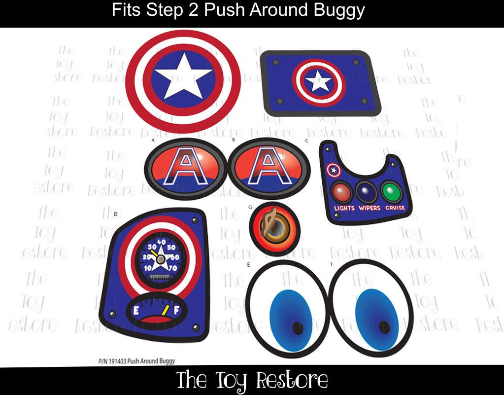 New replacement decals stickers fits step2 push around buggy 2 car wagon captainamerica by thetoyrestore on etsy