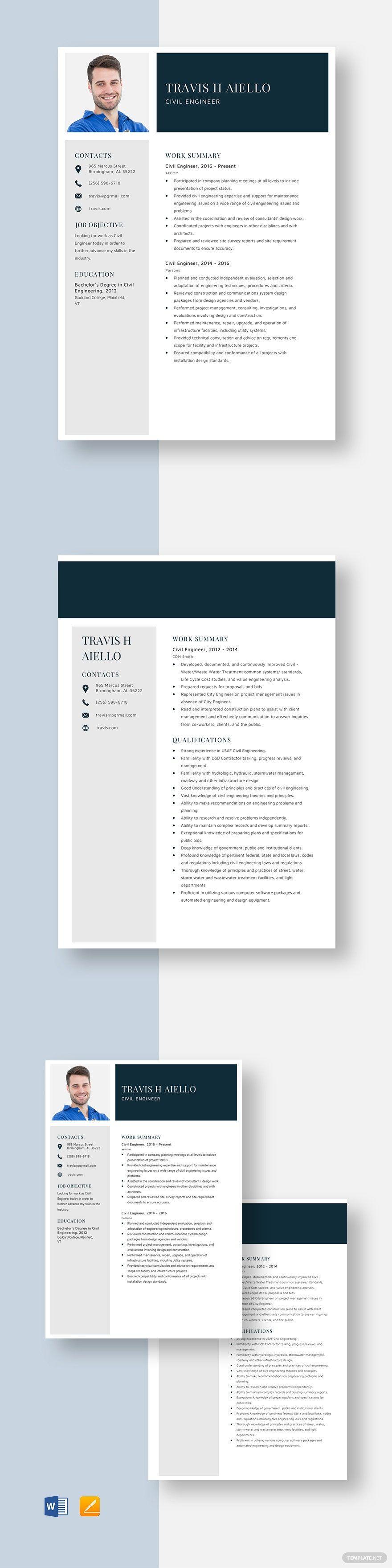 Civil engineer resume template in 2020 civil engineer