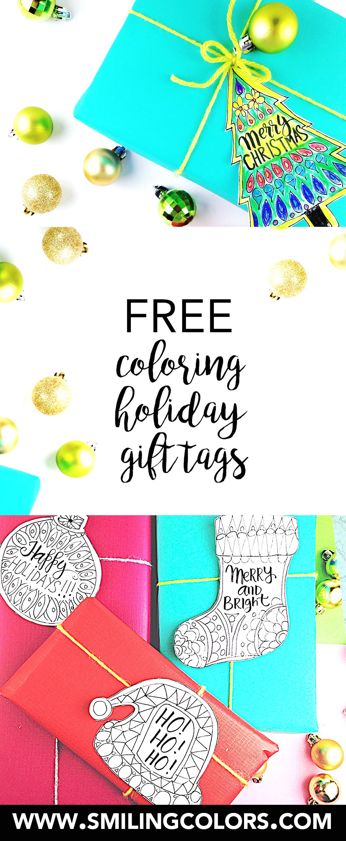 A set of 4 free coloring holiday gift tags that you can download a set of 4 free coloring holiday gift tags that you can download and print at negle Choice Image