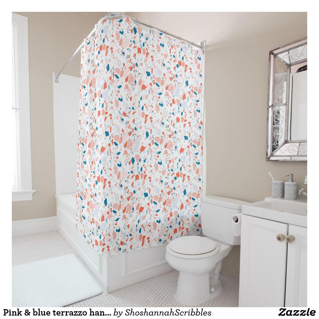 Pink Blue Terrazzo Handmade Shower Curtain Zazzle Com Pink