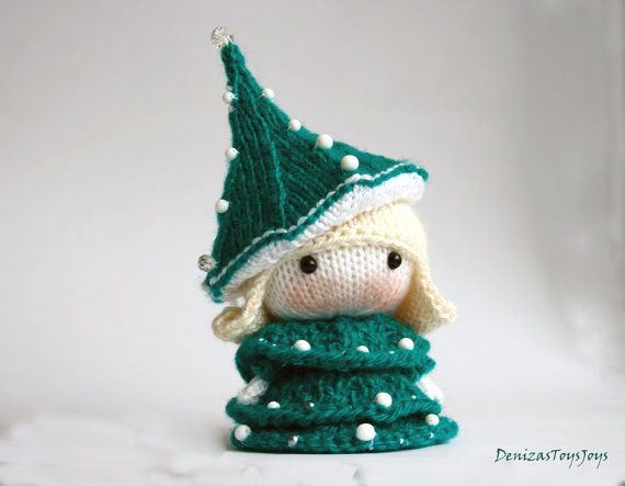 Small Doll in the Christmas Tree dress. Toy from the by deniza17