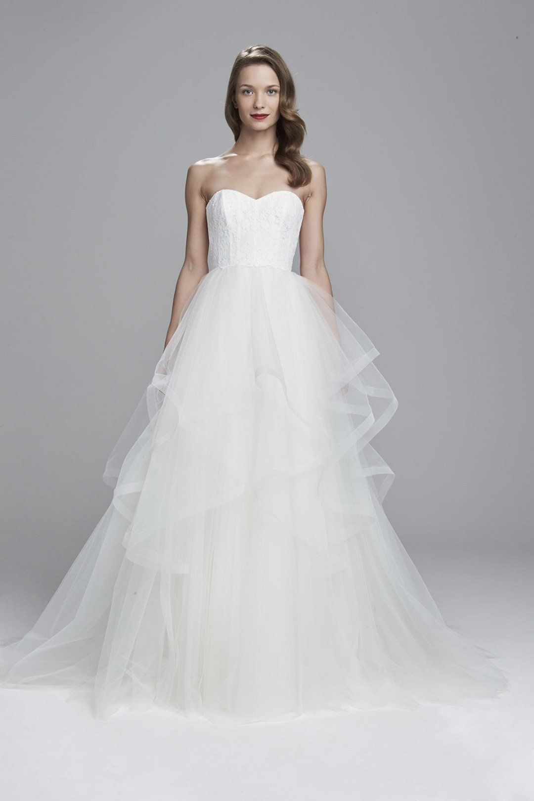 Strapless ball gown wedding dresses  Inspired by the Amsale Auden  Strapless ball gown with layered