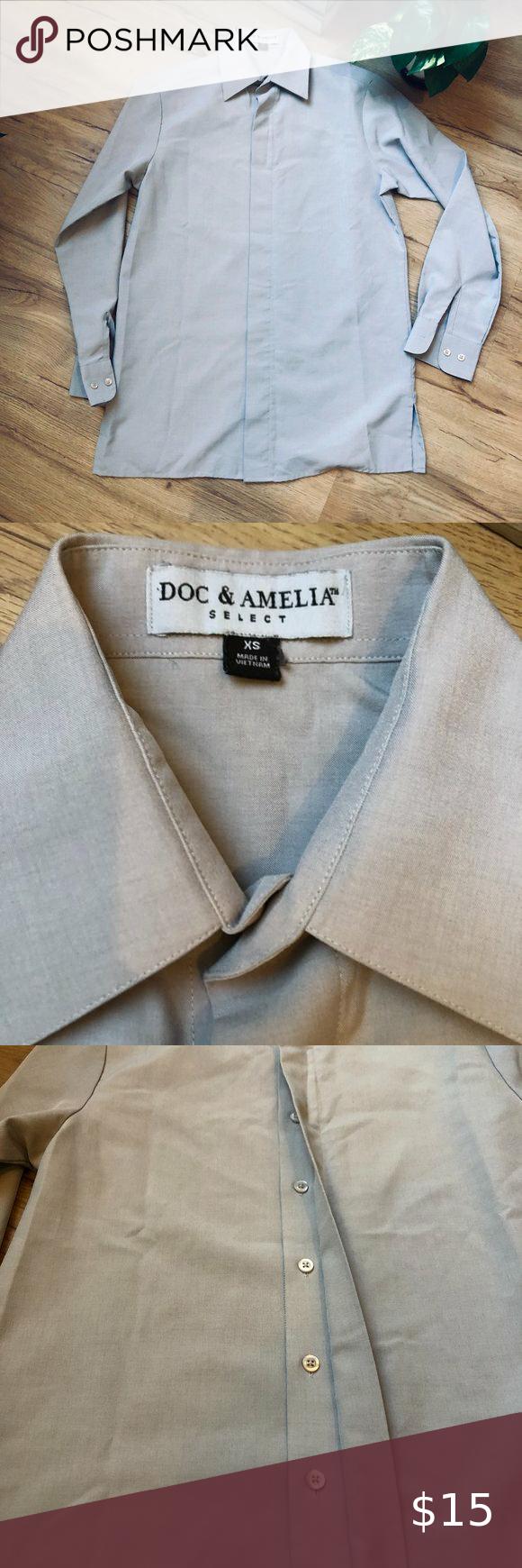 Doc Amelia Select Gray L S Button Down Shirt Doc Amelia Select Gray Long Sleeve Button Down Dress Shirt Men S Mens Shirt Dress Shirts Long Sleeve Knit Tops [ 1740 x 580 Pixel ]