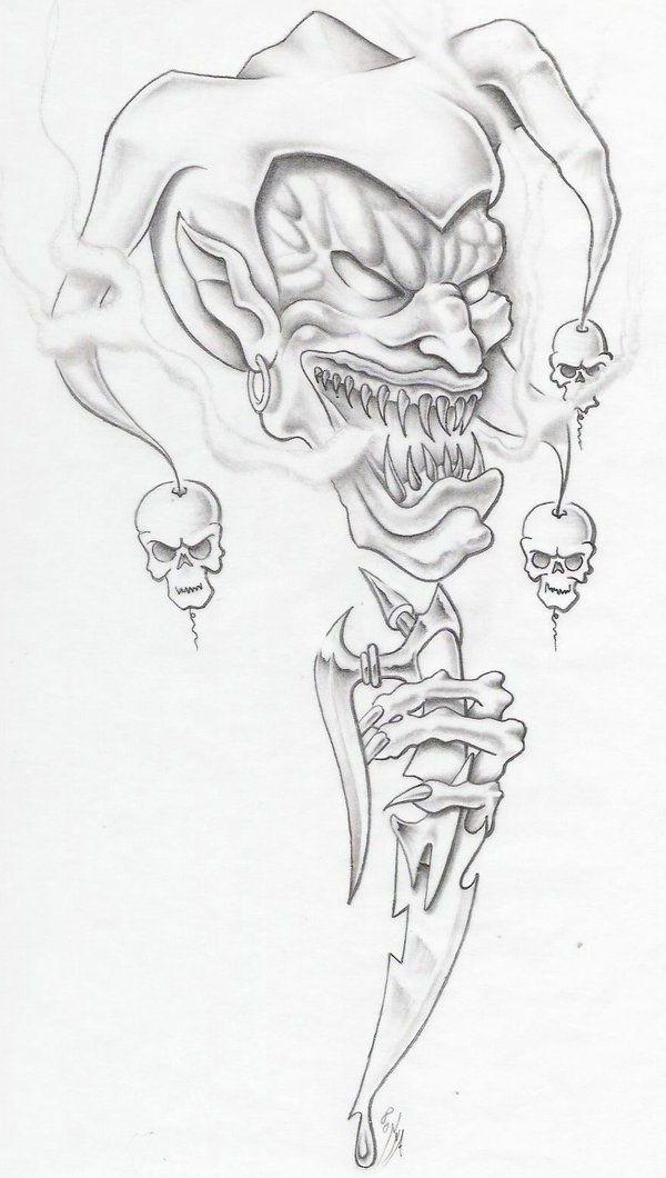 Clown Face Line Drawing : Goblin evil clown tattoo idea sketches