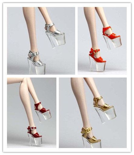 Handmade barbie Doll shoes High heels Transparent by Blueberry3, $16.99