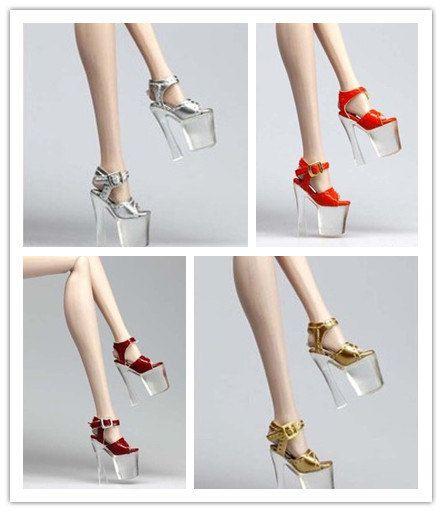 Barbie Dolls : The punk style rivet high heels for 12