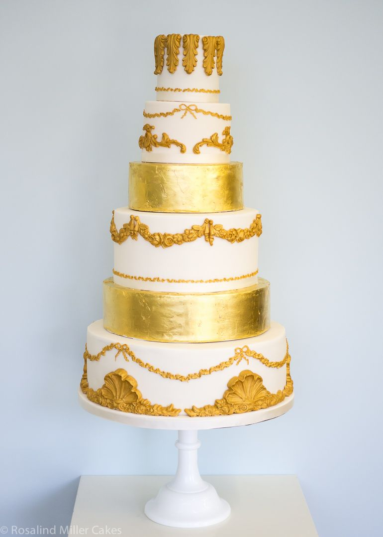 Gold and Ivory Baroque Wedding Cake by Rosalind Miller Cakes ...