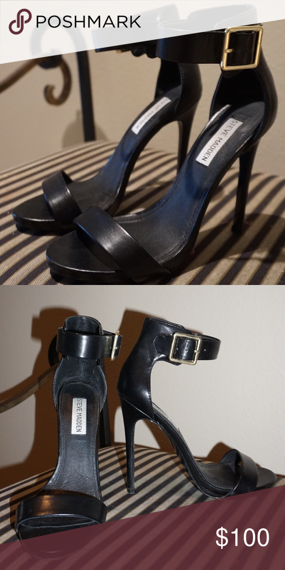 c24747c0d4f Steve Madden heels Black leather 5inch heels with gold buckle on ...