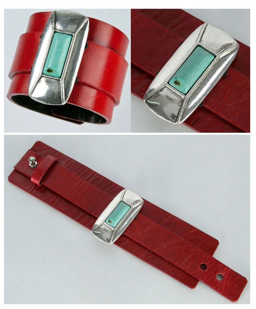 This beautiful Ralph Lauren inspired design, a rectangular pewter with a turquoise center piece is mounted on a flexible black band and presented on a red cuff*.  Re-purpose with us… Which of us doesn't have unwanted pieces hidden away, collecting dust? Send them to us and we will transform them into something beautiful and wearable to be treasured for many years to come! www.annakaufer.com