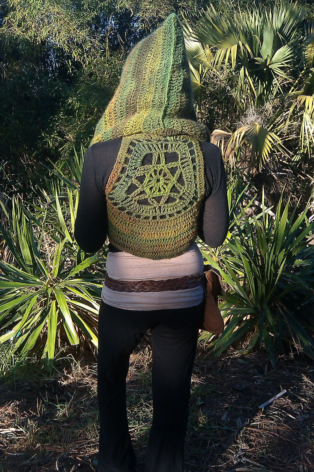 Hooded Rainforest Wanderer Pixie Vest With Mandala Accent Custom Made- Knit Crochet Gypsy Hippie Hippy Sweater Jacket Vest Womens Clothing. $145.00, via Etsy.