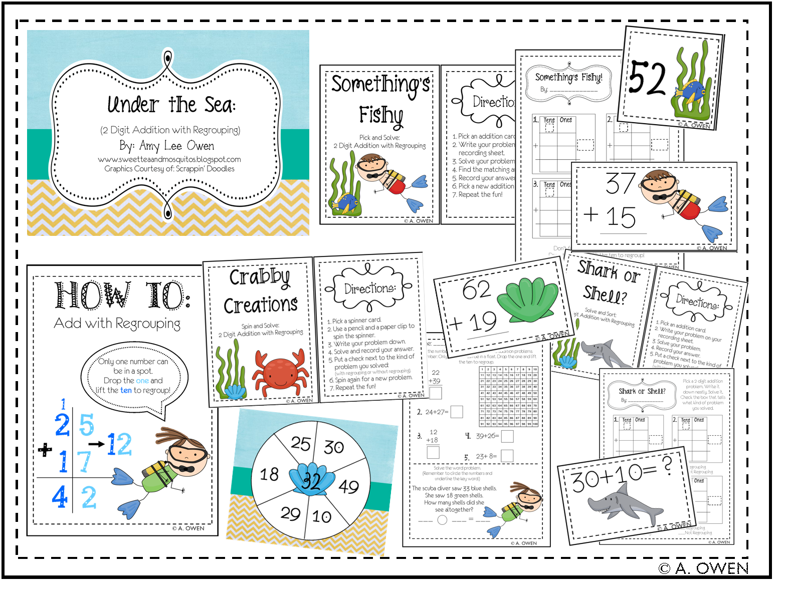 Under The Sea 2 Digit Addition With Regrouping