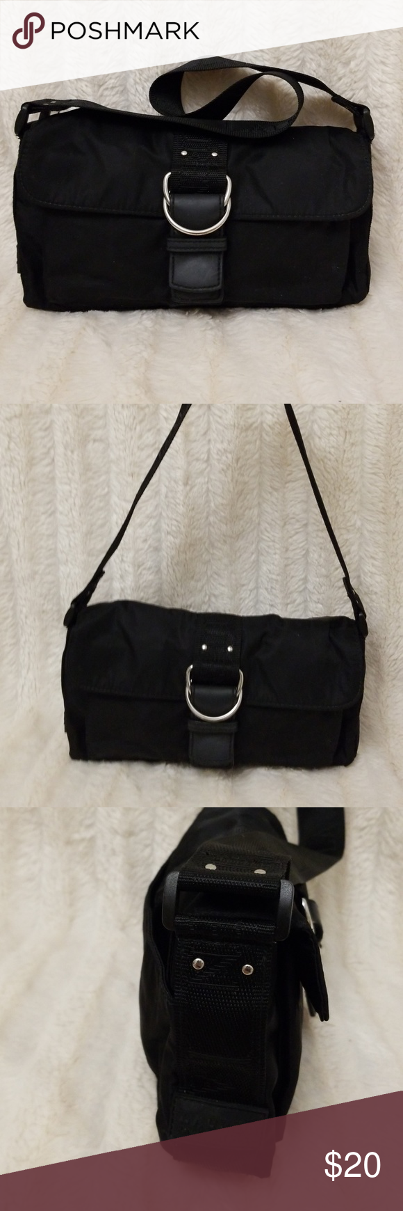 5e48a80f78 Ralph Lauren nylon shoulder bag 2 compartment with one zipper compartment black  nylon bag. Good