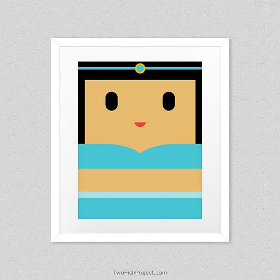 Jasmine Poster for Kids Room or Nursery by TwoFishProject on Etsy