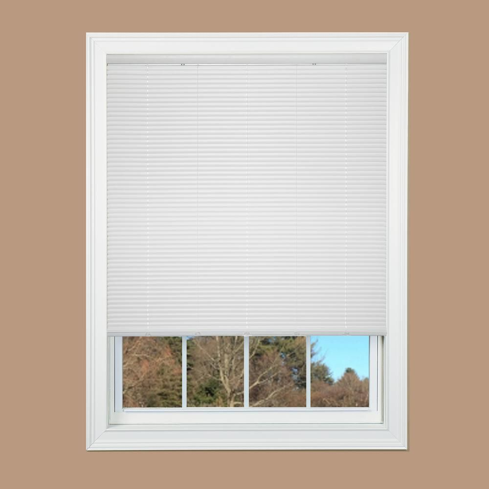 White Cordless 1 In Vinyl Mini Blind 29 In W X 64 In L 201504003 The Home Depot Vinyl Mini Blinds Blinds Mini Blinds