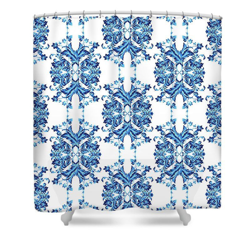Blue Flowers Versace Style By Vppdgryphon Shower Curtain For Sale