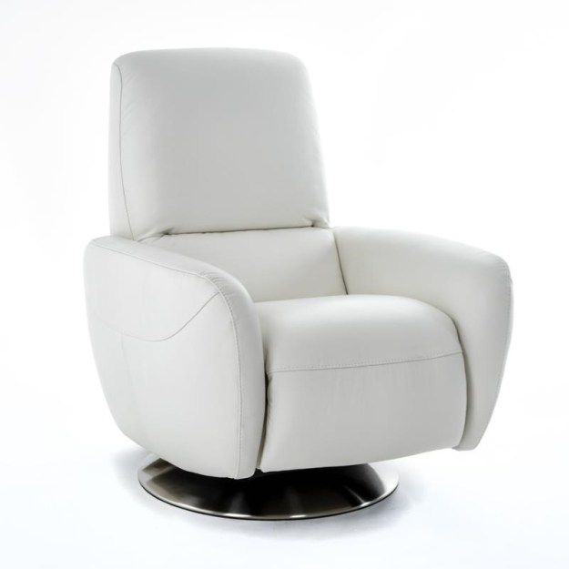 Superb Laura B769 Modernwhite Italian Leather Recliner Swivel Chair Squirreltailoven Fun Painted Chair Ideas Images Squirreltailovenorg