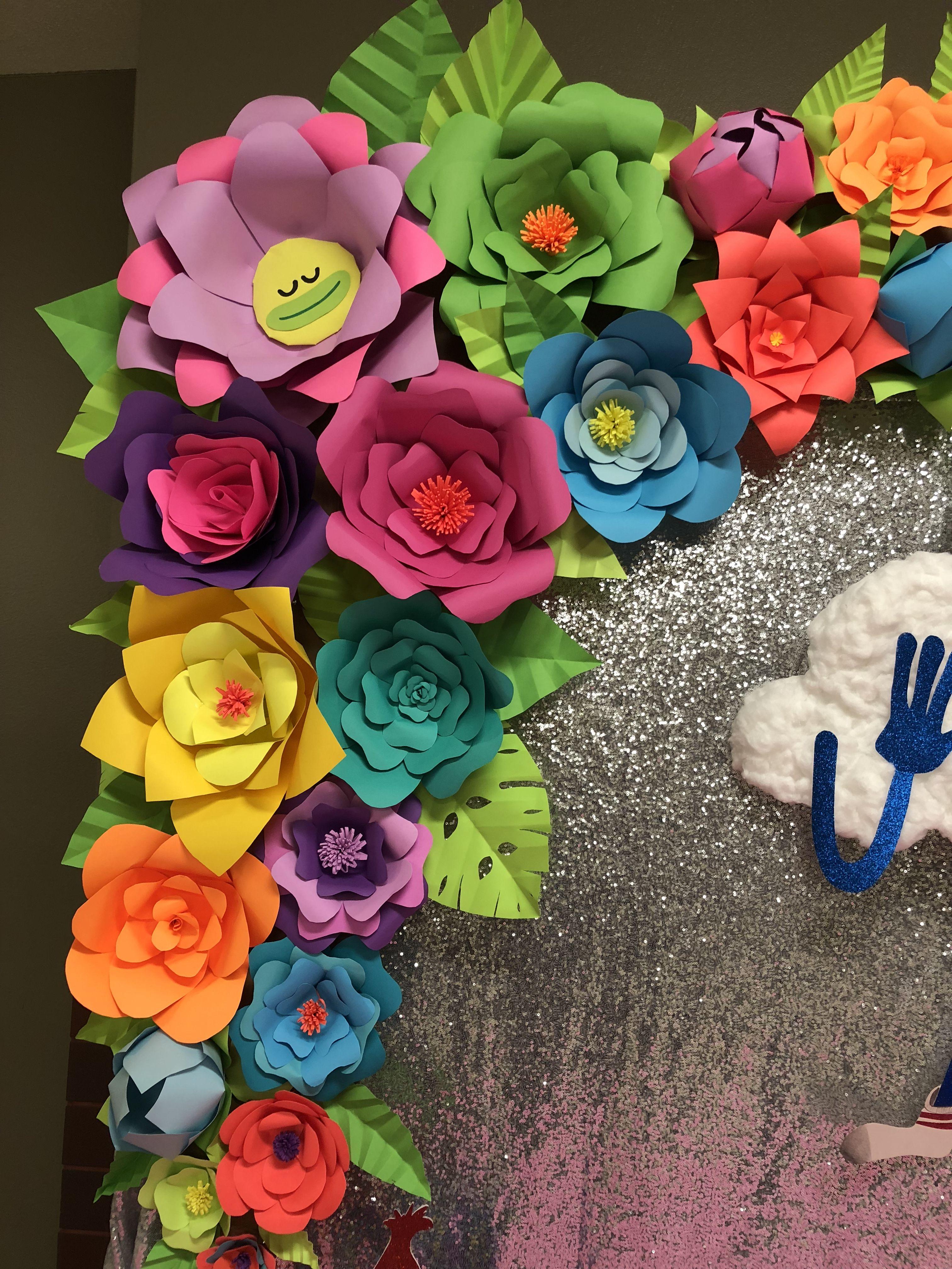 Trolls Diy Paper Flower Decorations Party Paper Flowers Trolls Birthday Party Trolls Birthday