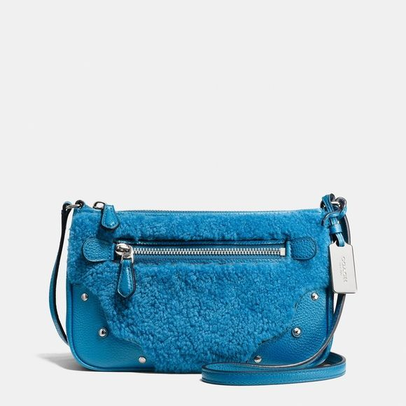 Coach Blue Shearling Purse New With Tags Perfect Condition Really Cute Bag And Brand