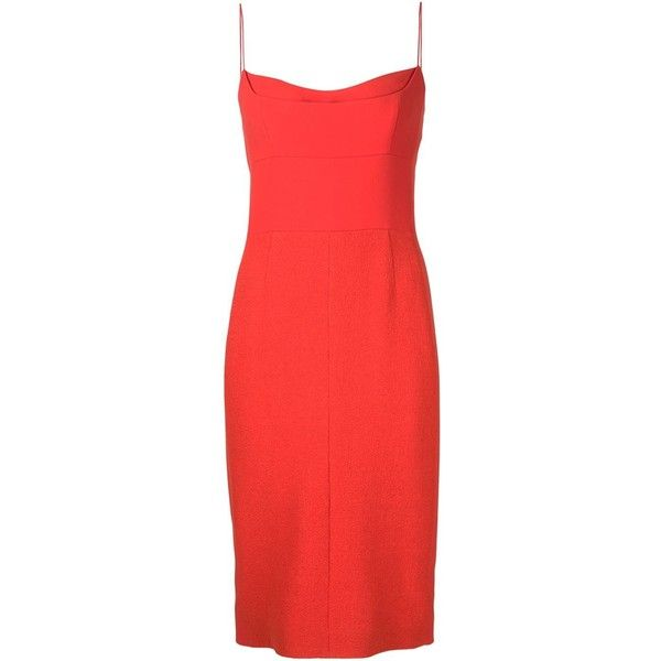 228c24665be8 Narciso Rodriguez spaghetti strap dress (11.820 RON) ❤ liked on Polyvore  featuring dresses, red, red dress, narciso rodriguez dress, spaghetti strap  dress, ...