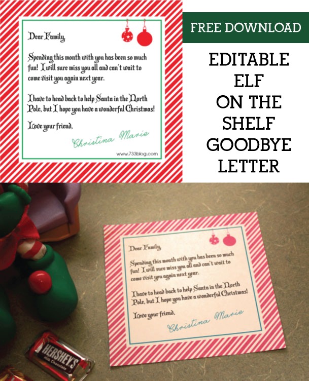 editable elf on the shelf goodbye letter download this free printable and customize the wording to make it super special