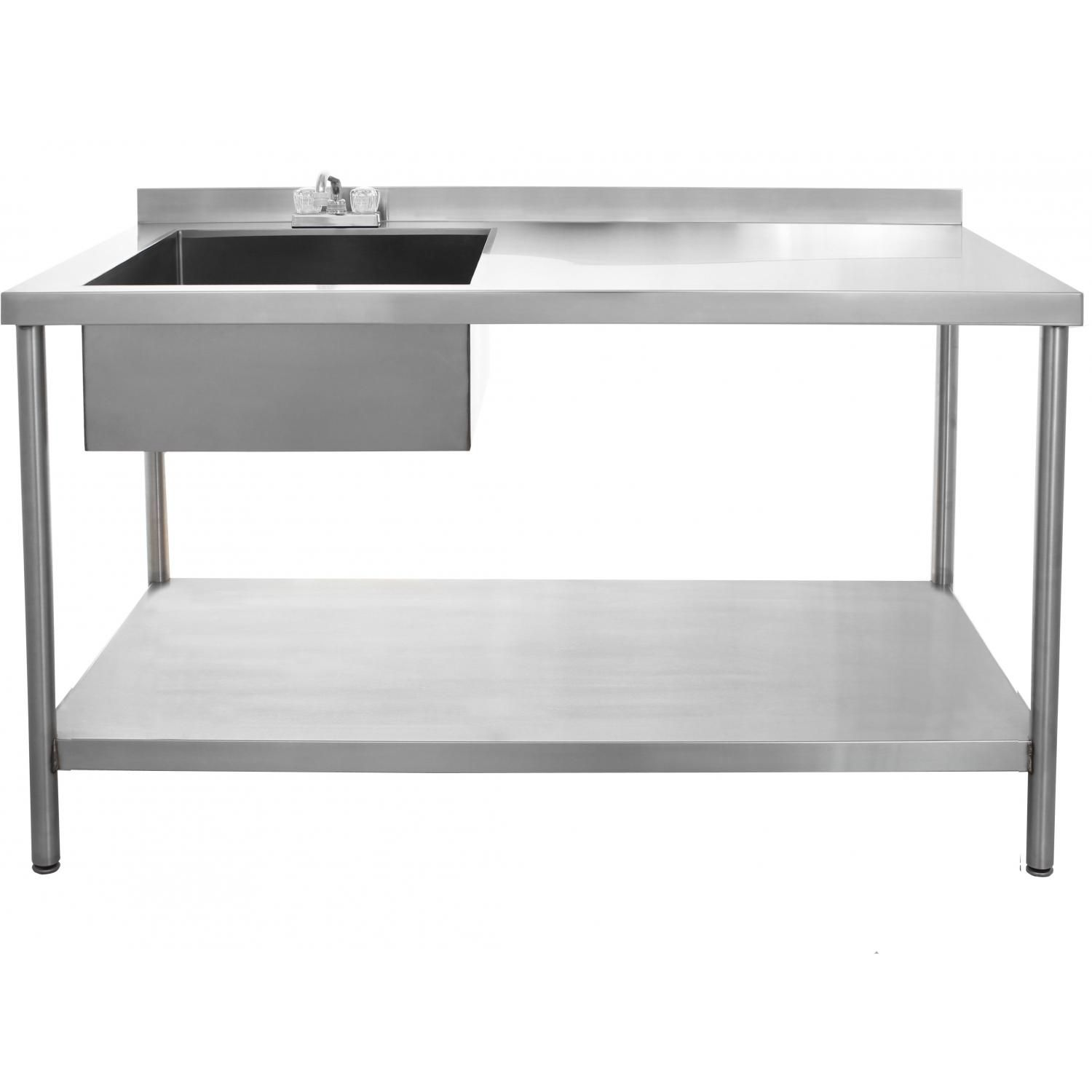 Bbqguys 30 X 60 Inch Outdoor Rated Stainless Steel Utility Table With Sink And Hot Cold Faucet Bbqguys Stainless Steel Table Steel Desk Stainless Steel Coffee Table