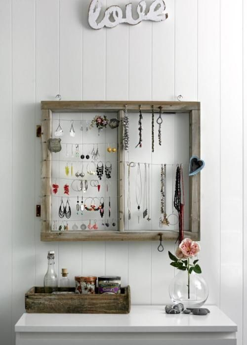 Window frame turned jewelry holder | cosas que me gustan | Pinterest ...