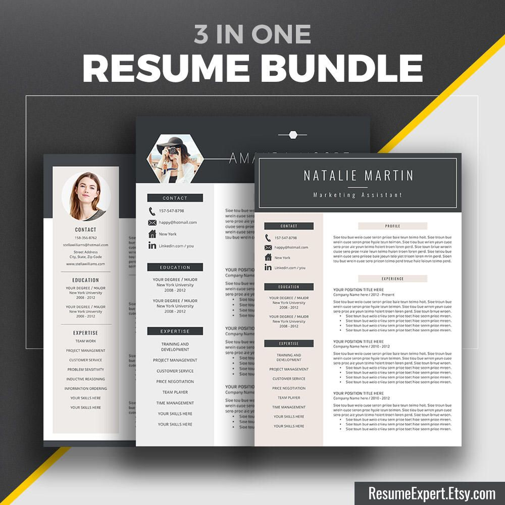 Professional Resume Template Bundle Cover Letter Creative Modern