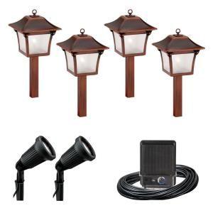Malibu 6 Light Outdoor Black And Tarnished Copper Colonial Light Kit 8300 9901 06 Outdoor Lighting Outdoor Pathway Lighting
