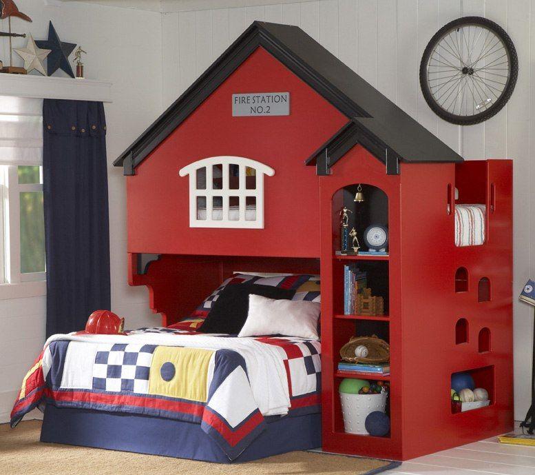 Twin Size Fire House Loft Bed In Red Finish Kids Loft Beds Loft