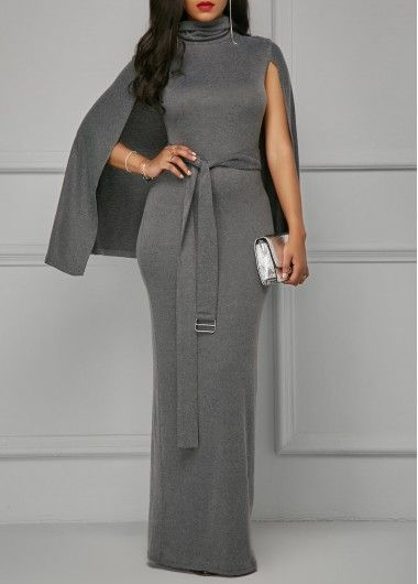 9b87efc5a940 Grey Belted High Neck Cape Dress on sale only US 33.95 now