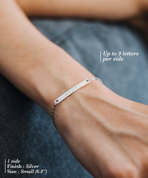 Personalized Bracelet Engraved Silver